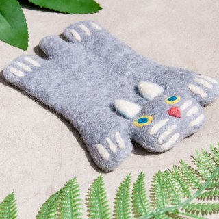 Christmas gift ethnic wind forest wool felt coaster animal animal coaster - cat absorbent coaster