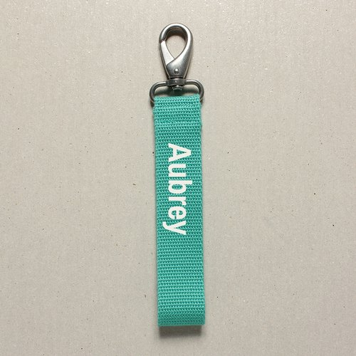 17 color optional ● Custom made text key ring white, gold, silver, three-character color to choose your lucky color - Turkish green