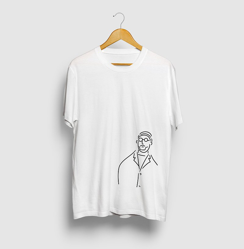 Uncle Round Glasses Illustration T-shirt