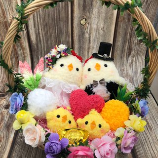 Cute wool woven belt road chicken doll wedding engagement wedding small things wedding supplies