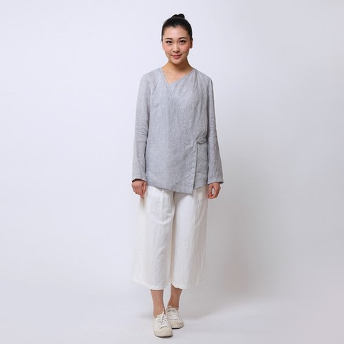 BUFU  linen zen-style  tea ceremony shirt  pink/ light grey  O151208