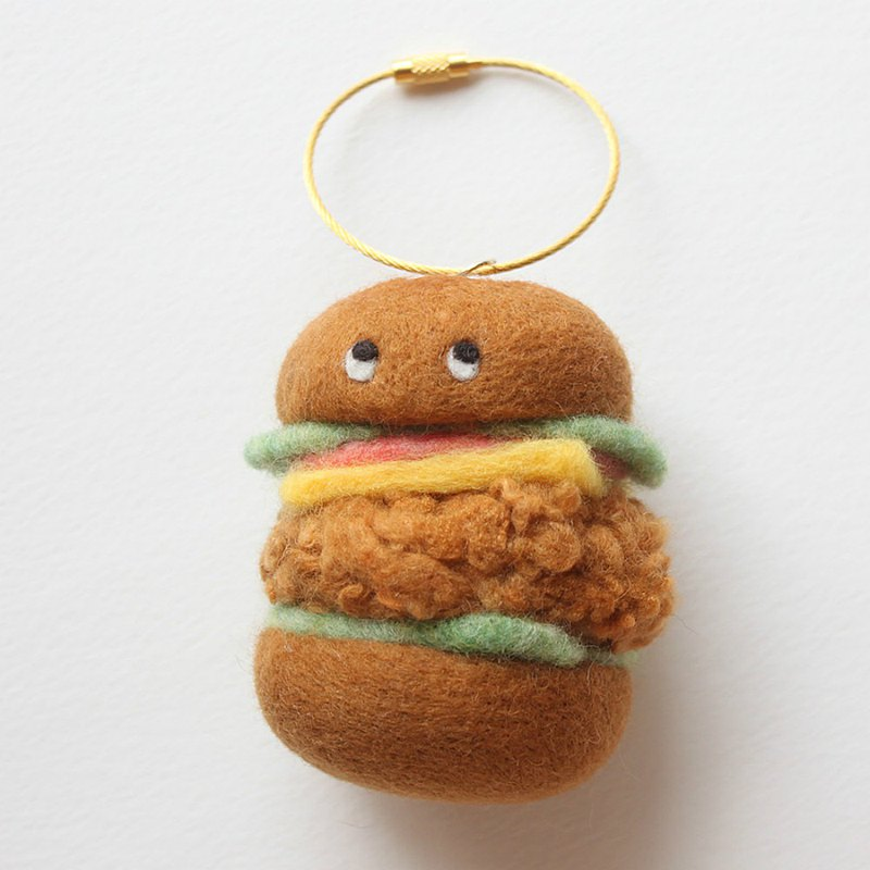 Wool felt hand-made fast food burger key ring / key chain original food series girlfriends exchange gifts