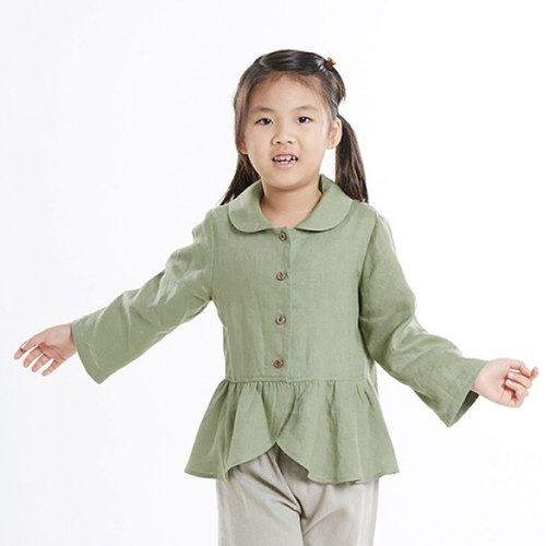 M0187 girls flouncing round neck long-sleeved jacket - gray-green