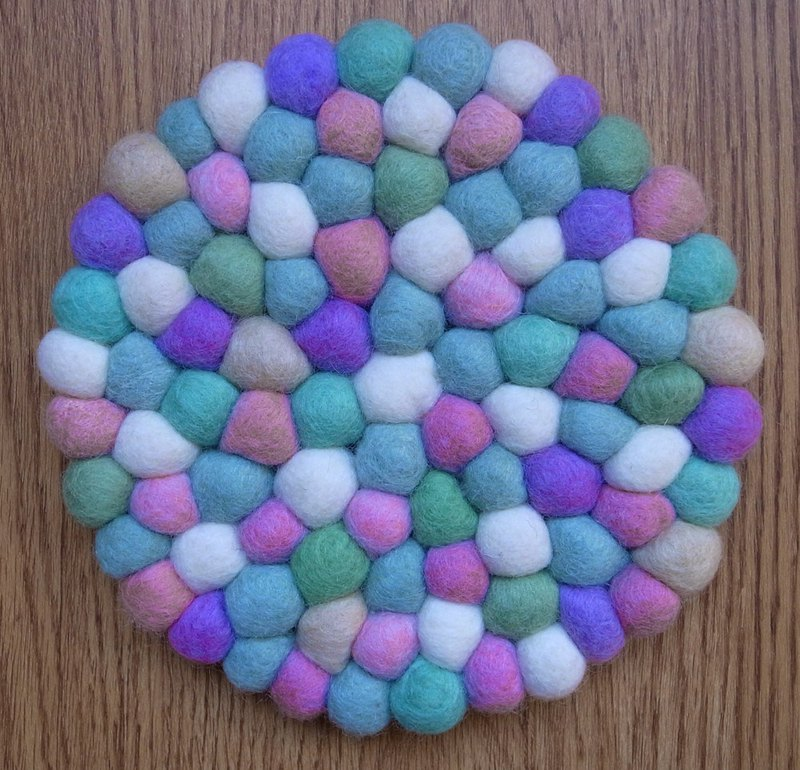 Potholder, Trivet, Pan Coaster, Pot holder, Felt ball Trivet Round 20cm Macarons