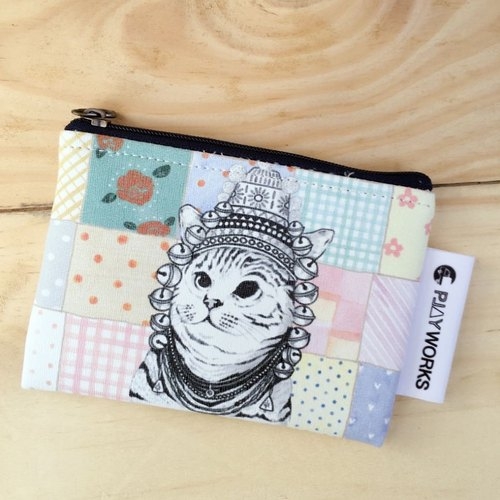 ☺ cute double-sided pattern water resistant purse ☺ grid cat cat articles