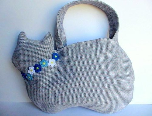 Feline flower motif cat bag * Blue