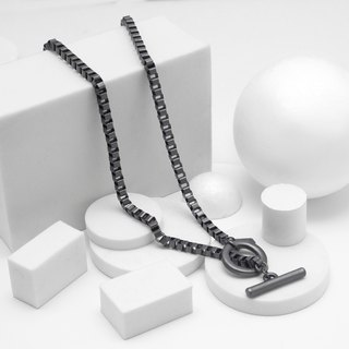 Recovery Checkered Chain Necklace (Black Silver)