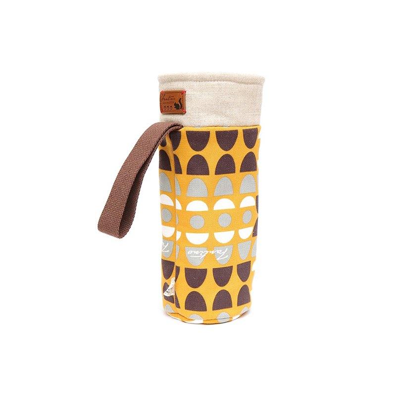 保溫防撞水壺袋 - 水玉迷宮 - 黃水玉/交換禮物/聖誕禮物