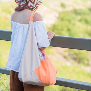Peachy trinity canvas bag LARGE Melon/Latte