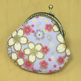 Purple Flower 8.5cm Kisslocked Coin Purse