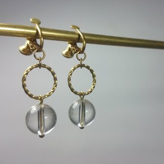 BZ 38: brass clip earrings with clear quartz