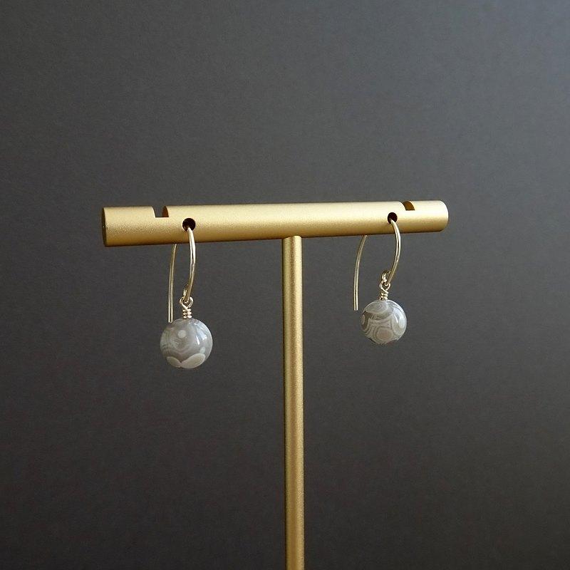 ::寶石幾何:: 天然白孔雀石美國 14K 包金簡約垂墜耳環
