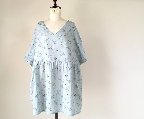 Dandelion and a little tunic tunic One piece Sachs blue