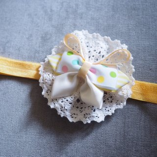 Yellow ribbon bow baby elastic headband with lace