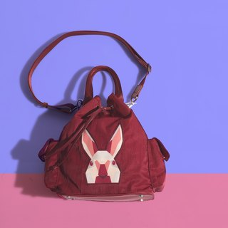 Khieng Atelier Diamond Rabbit Rabbit diamond shoulder bucket bag - red maple leaf