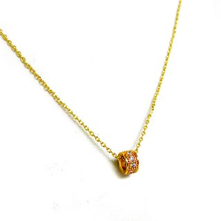 Ficelle | handmade brass natural stone necklace | [zircon] diamond drill collar clavicle chain