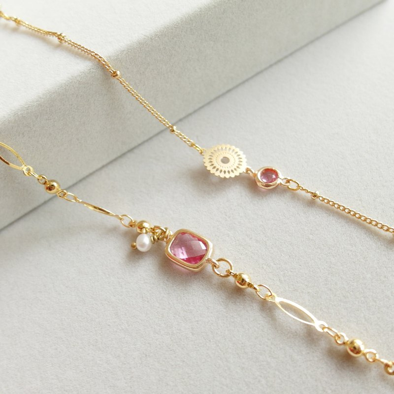 Swaying Pearl Flower Bracelet Set - Pink