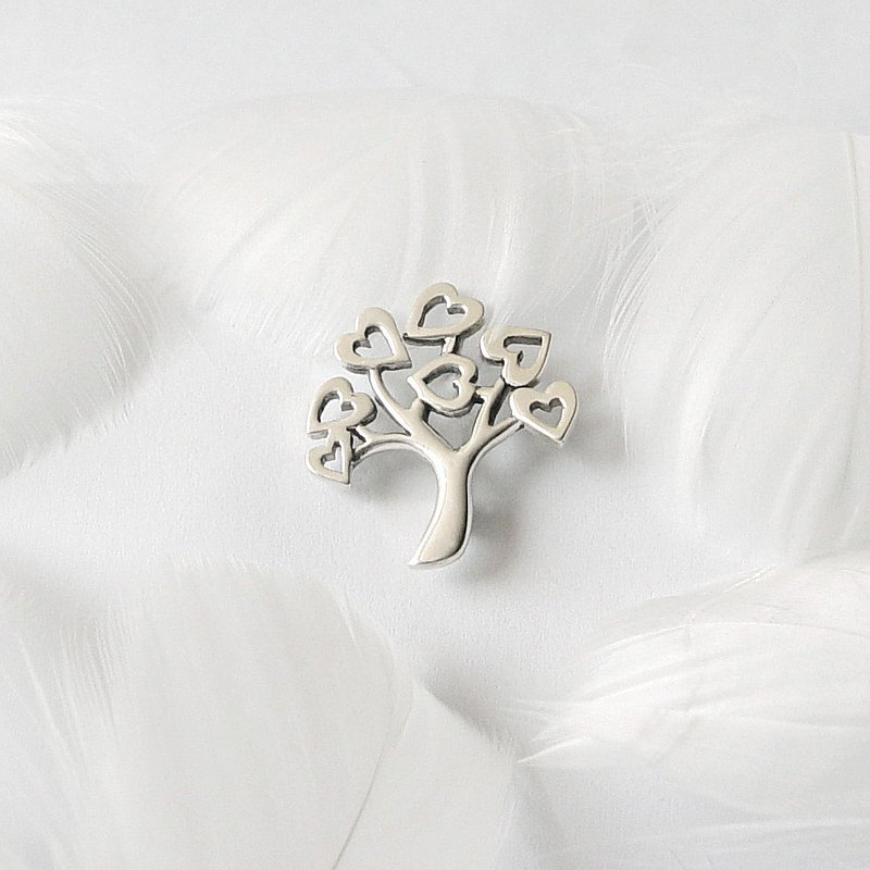 Love tree  / 925 Sterling Silver Brooch-Gift for her