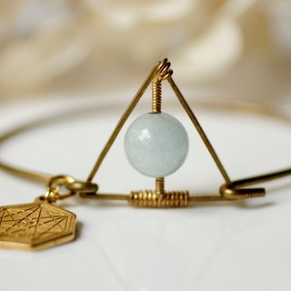 Myth Triangle Aquamarine March birthstone bracelet brass Immature
