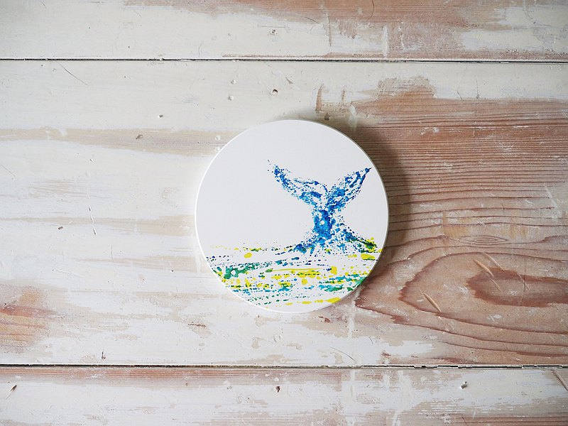 Ceramic soap pad/ coaster/ hand-painted transfer coaster/ table mat/ whale