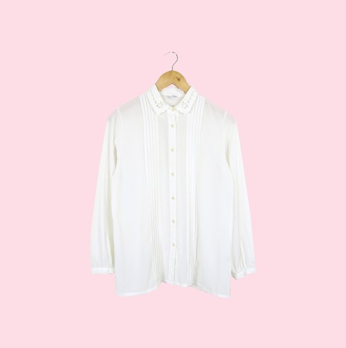 Back to Green :: Japanese delicate collar pure white silk shirt hundred fold pattern collar minity basket empty vintage (JS-07)