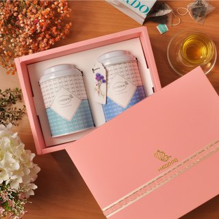 Mid-Autumn Pink Flower Gift Box (Double Can) Triangle Tea Bag [HERDOR Mid-Autumn Tea Gift Box]