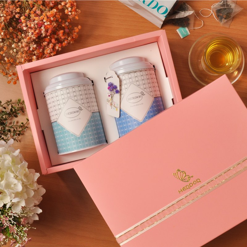Pink Tender Tea Gift Box (Double Cans) Triangle Tea Bag [HERDOR Flower Tea Gift Box]