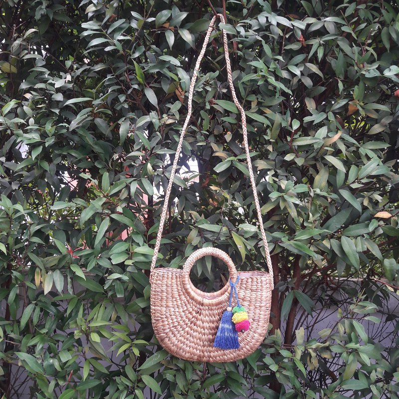 Straw Bag, Crossbody Bag, Thai Weaving Waterhyacinth