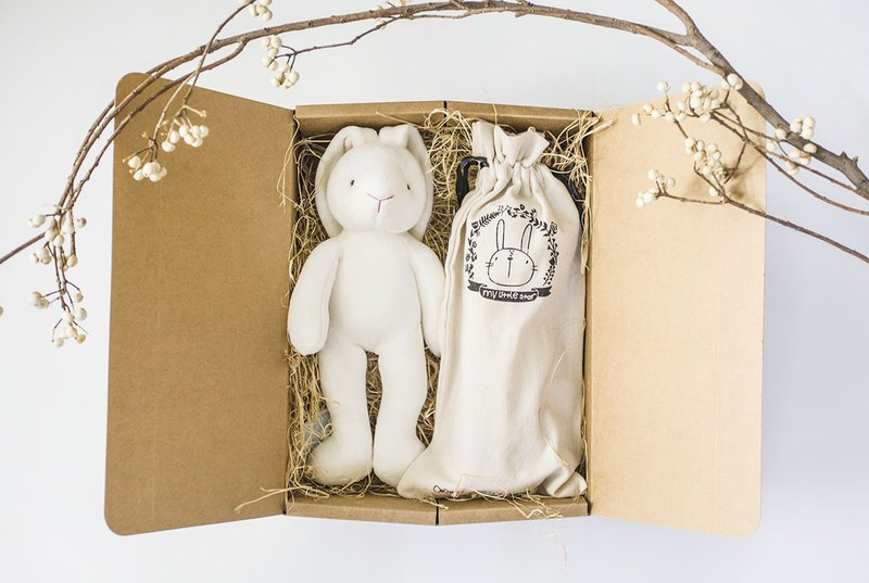 my little star-mini rabbit two love quilt organic cotton full moon gift box