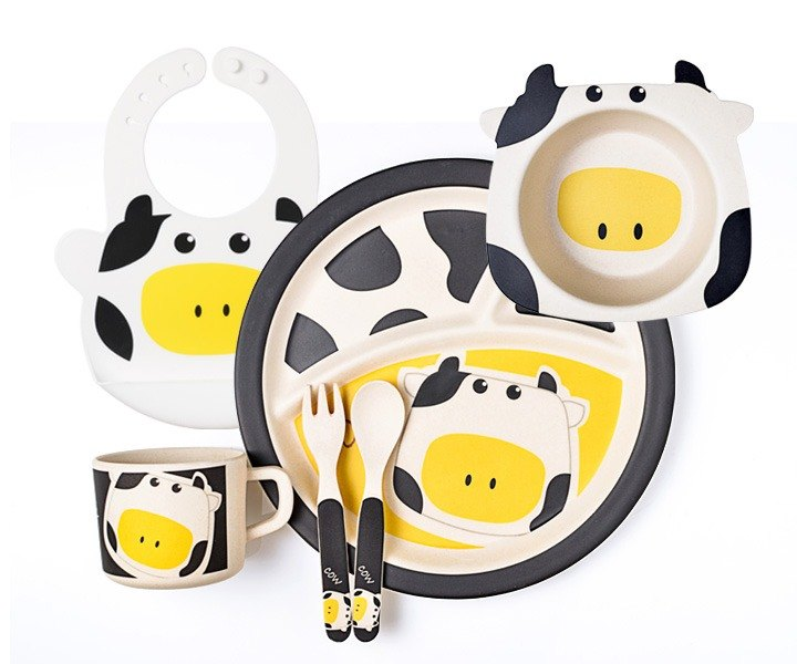 Laboos bamboo fiber children's tableware cute cow set