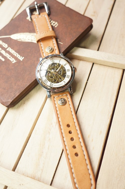 AT - handmade - Natural tanned leather strap with automatic watch - (includes name and decoration button) (welcome to order a strap only)