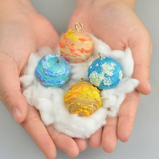 Pompon Planet Hand Made Group Planet World Cotton Candy Planet Christmas tree decoration