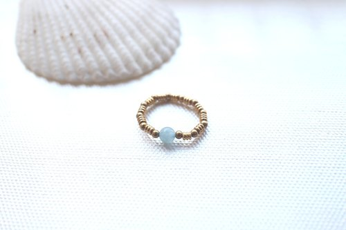 Aquamarine / brass handmade ring