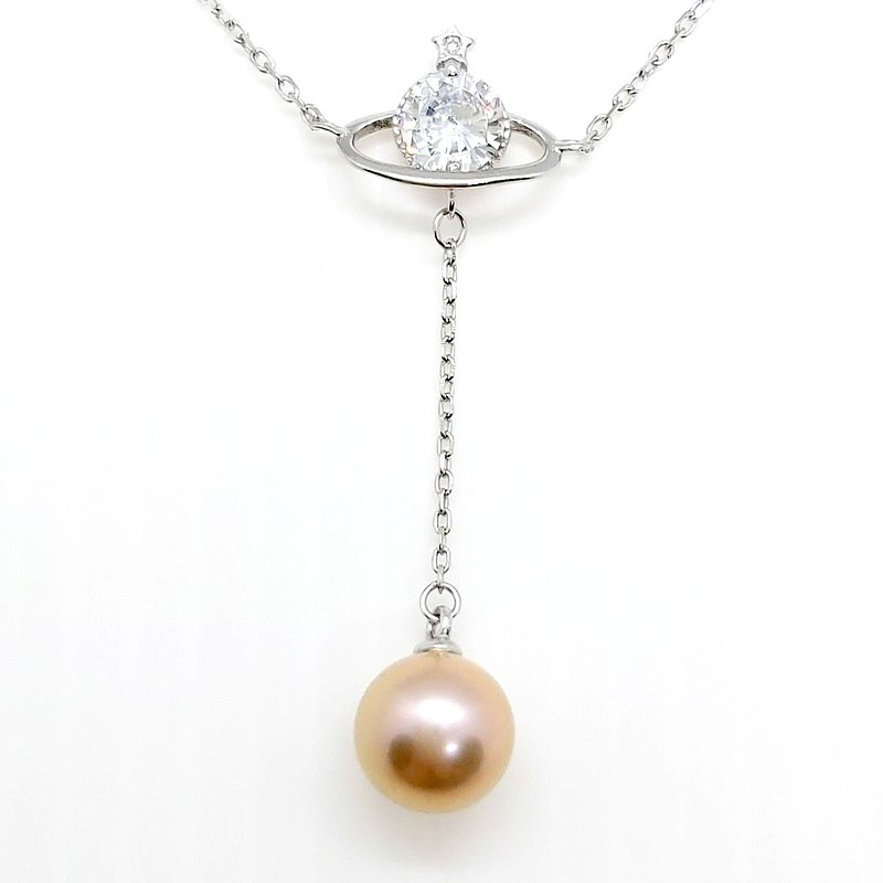 Zircon Little Planet Freshwater Pearl Sterling Silver Necklace