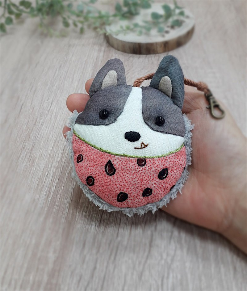 Watermelon cute dog charm decoration dusting wipe
