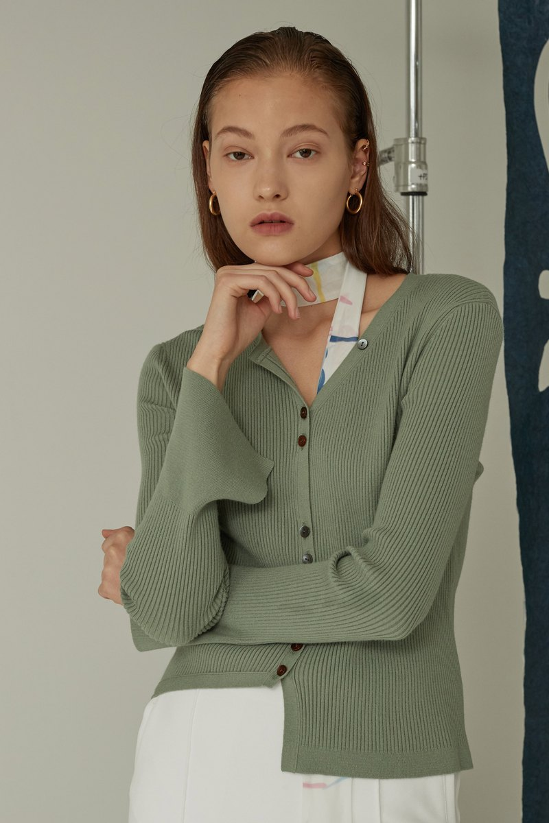 Asymmetry Short Cardigan / Mint Khaki