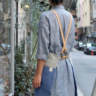DailyAPRON cross leather strap + dual colour washed canvas apron