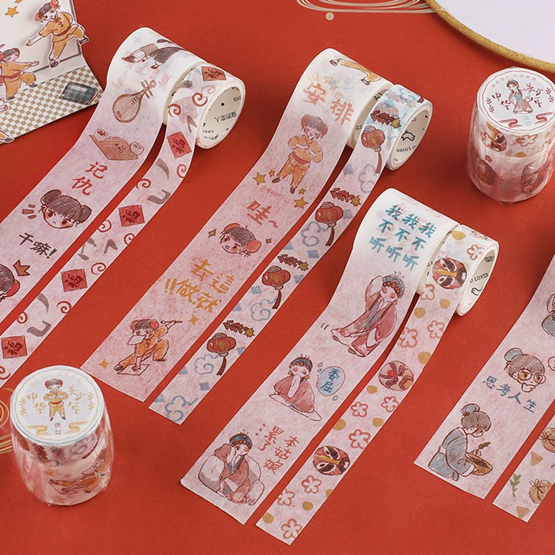 Letter of Lovers <中美少年> and paper tape set Chinese style cute little fresh illustration villain