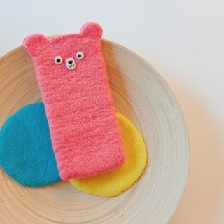 Wool felt - pink bear shape cell phone case (i6 size)
