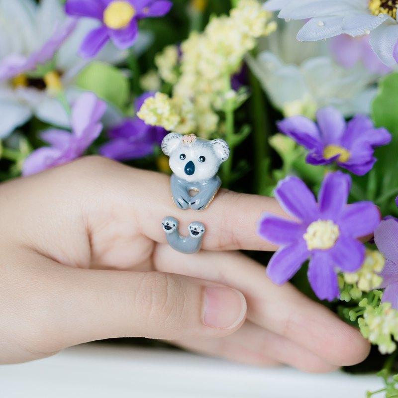 Koala Hand Painting FreeSize Ring (Enamel, Adjustable Ring, Lovely Gift)
