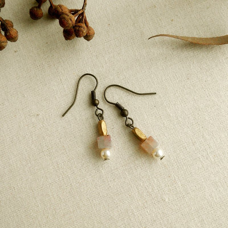 Halo dyeing natural stone minimalist earrings can be changed ear clip type elegant 芋 purple micro orange red pearl white