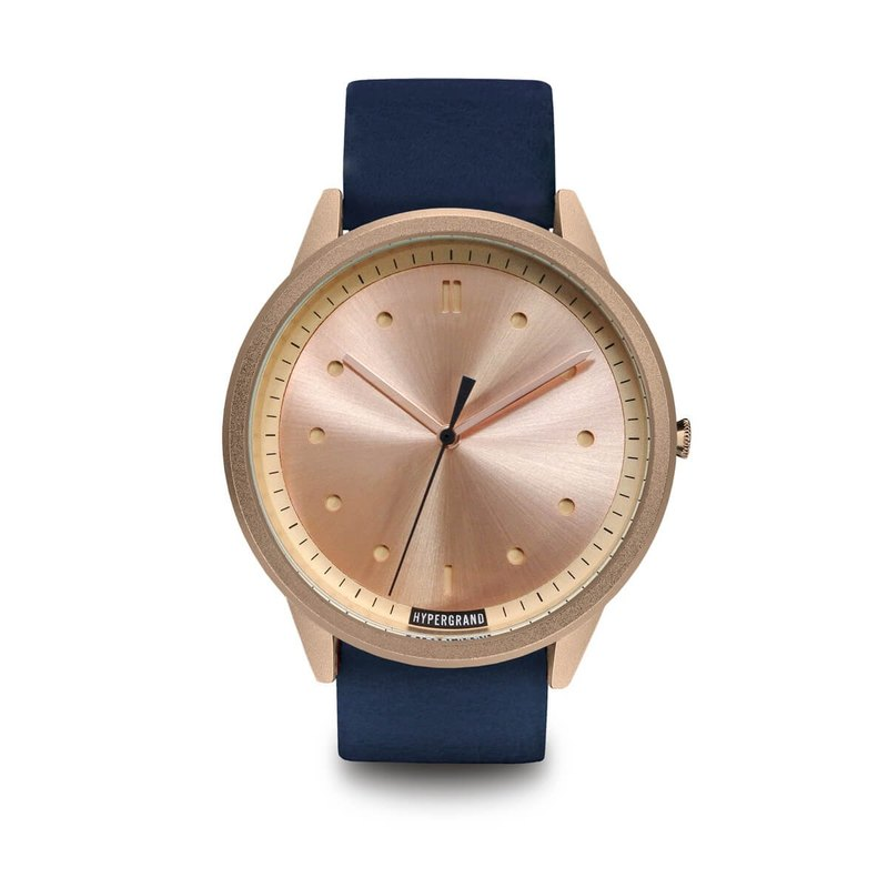 HYPERGRAND - 02 Basic Series - Rose Gold Dial Blue Leather Watch