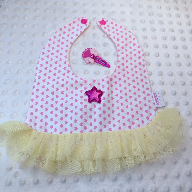 Handmade baby style bibs saliva towel / photo / pink / princess style ballet @ with a hairpin @ yellow