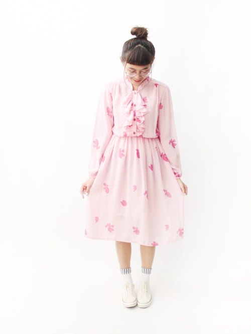 【RE0809D1304】 summer retro little pink leaves long-sleeved ancient dress