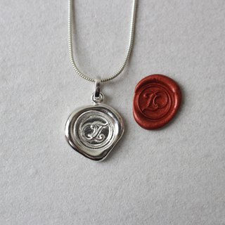 Initial Monogram Z / Make a Mark Personalised 925 Silver Wax Seal Necklace