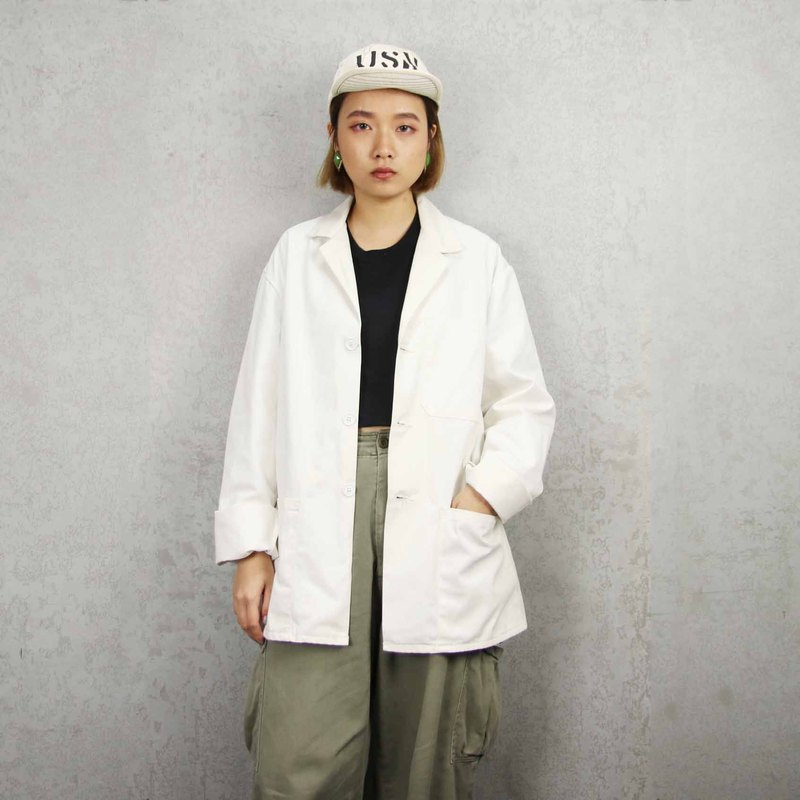 Tsubasa.Y Antique House 009 Pure White Work Shirt, Workwear Shirt Top Jacket