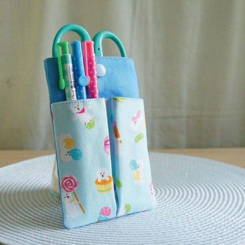 Lovely日本布【比熊犬雙層分隔口袋筆袋】藍