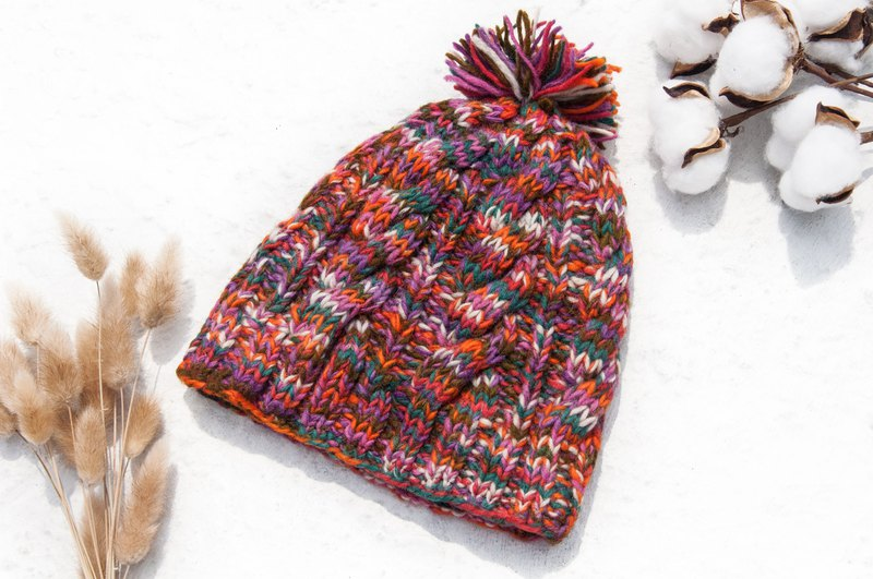 Hand-knitted pure wool hat / knit hat / knitted hat / inner brush hair hand-woven hat - tropical fruit tea