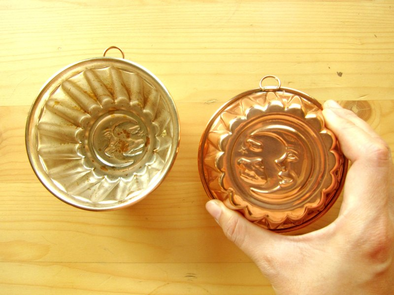 Sweden moon and stars tin-plated copper pudding mold