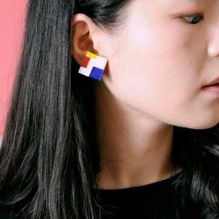 Mondrian Red Yellow Blue Series Stained Glass Mosaic Stud Earrings/Ear clips handmade geometric patterns